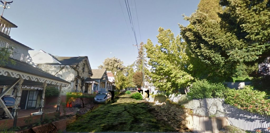 Artist's rendition of a fallow Cottage Street in Nevada City, CA