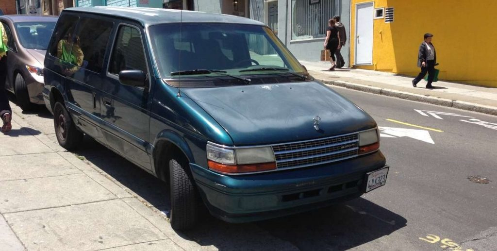 """Mindy Alters' 1998 Chrysler Minivan shown here in a family photo taken after a recent """"errand"""" to San Francisco."""