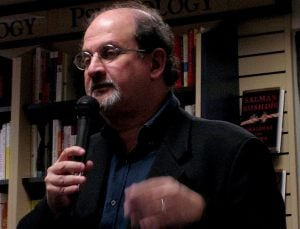 Author Salman Rushdie discussing his concern about the Union Newspaper in Grass Valley, CA