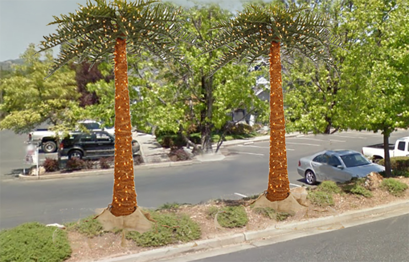 """Artist's rendition of the """"replacement"""" trees at the Gateway Center"""