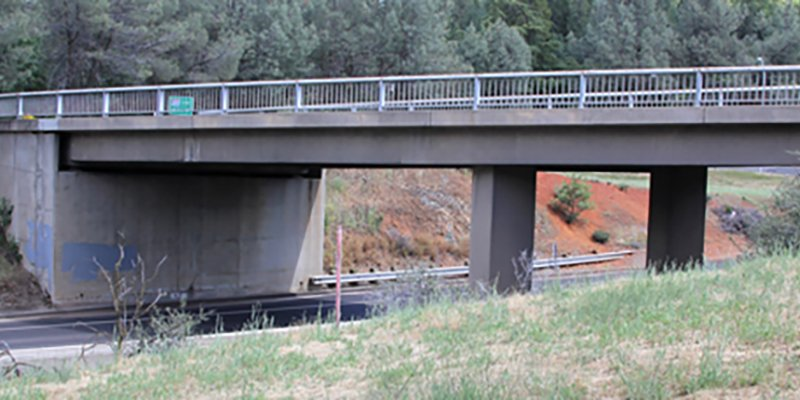 An overpass in Weimar, CA designated for lifting to accommodate over-sized personnel carriers.