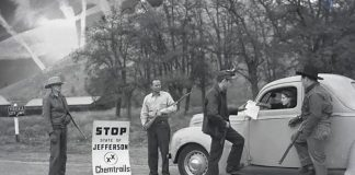 State of Jefferson supporters seen in a file photo from 1941 searching for Chemtrail chemicals