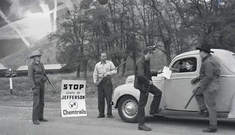 Armed State of Jefferson supporters seen in a file photo from 1941 searching for Chemtrail chemicals