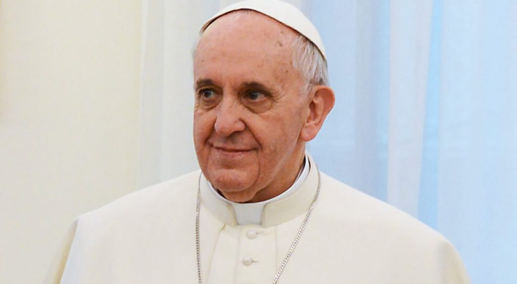 Pope Francis seen after his announcement.