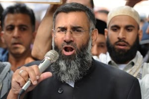 Anjem Choudary seen hear telling a crowd of supporters not to vote.