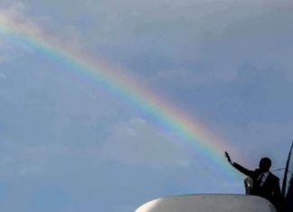"President Obama seen here shooting his ""gay agenda"" into ""Red States"""