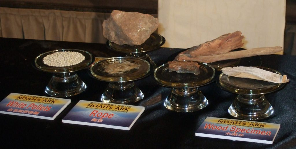 Initial Ark artifacts discovered by the university teams on display in Nevada City.