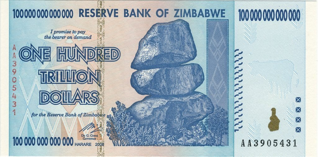 A sample 100 trillion Zimbabwe dollar note that Greece hopes to emulate soon.
