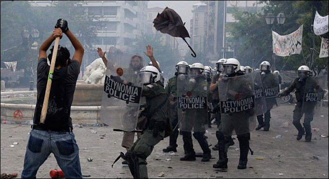 A peaceful Greek riot over austerity measures.
