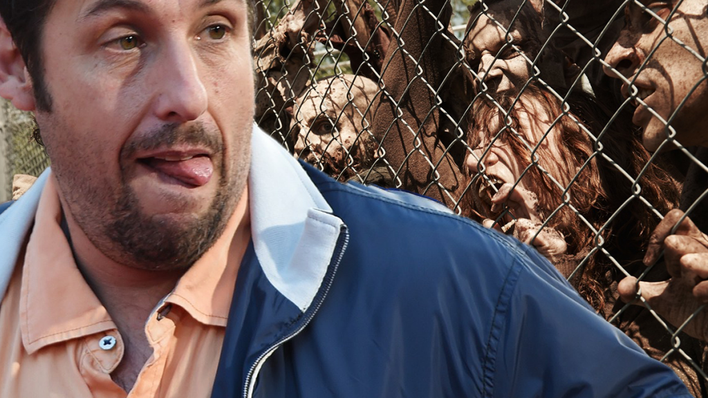 Adam Sandler is practicing his crazy mean face.