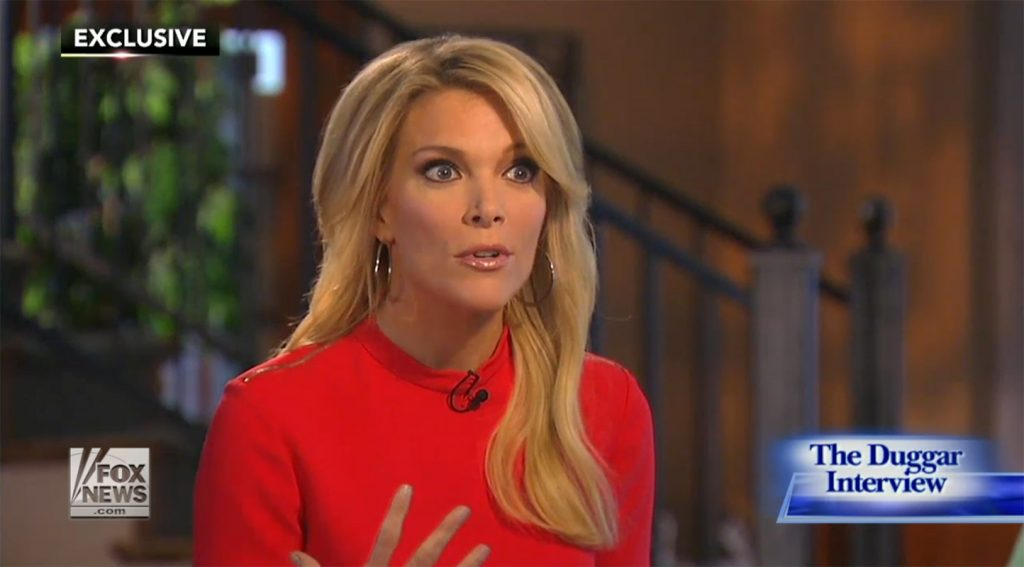 A shocked Megyn Kelly during her interview with Jim Bob and Michelle Duggar, the parents of Josh Duggar.