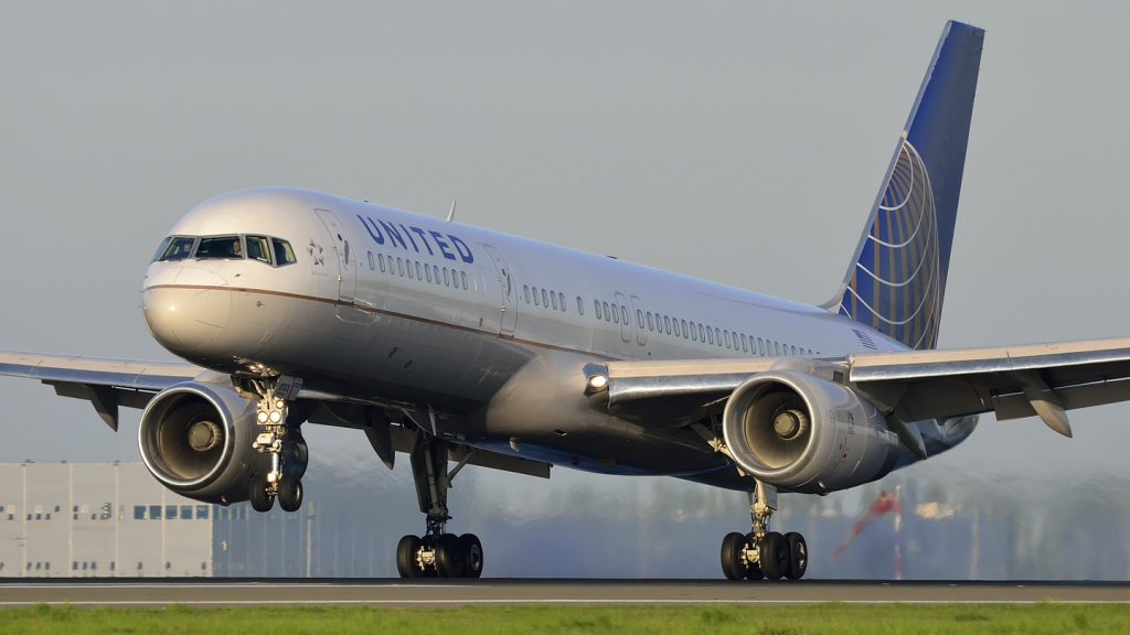 "The United Airlines plane making an emergency ""stench"" landing at Denver International Airport."