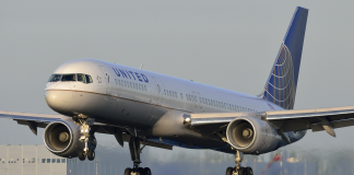 """The United Airlines plane making an emergency """"stench"""" landing at Denver International Airport."""