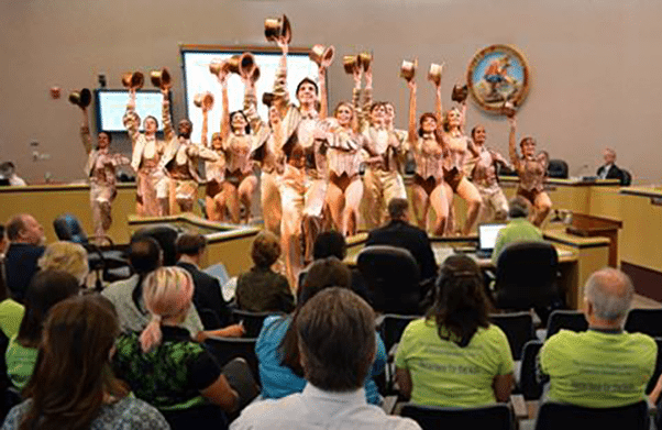 The cast of A Chorus Line interrupting a Nevada County Board of Supervisors' Meeting.