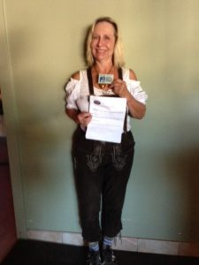 Accordion enthusiast Fran Cole, a bottle blonde attorney in knee length lederhosen, was awarded the single permit