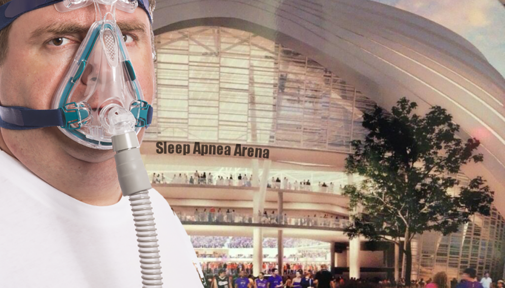 Artist's rendition of the new apnea arena with potential customer.