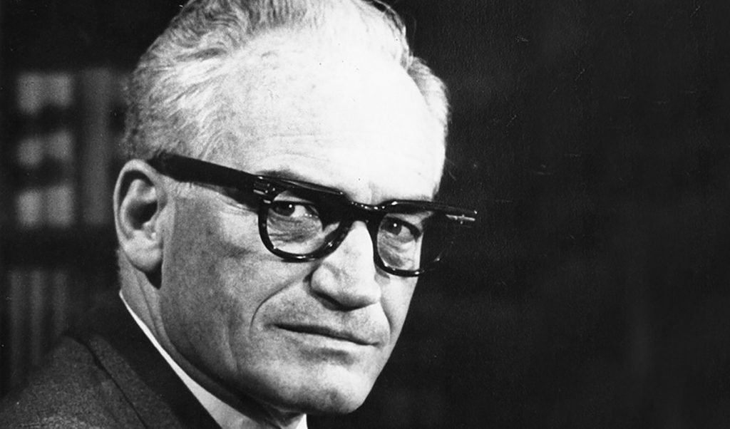Barry Goldwater has risen from the dead to join the current batshit crazy GOP line up in hopes to straighten their shit out.