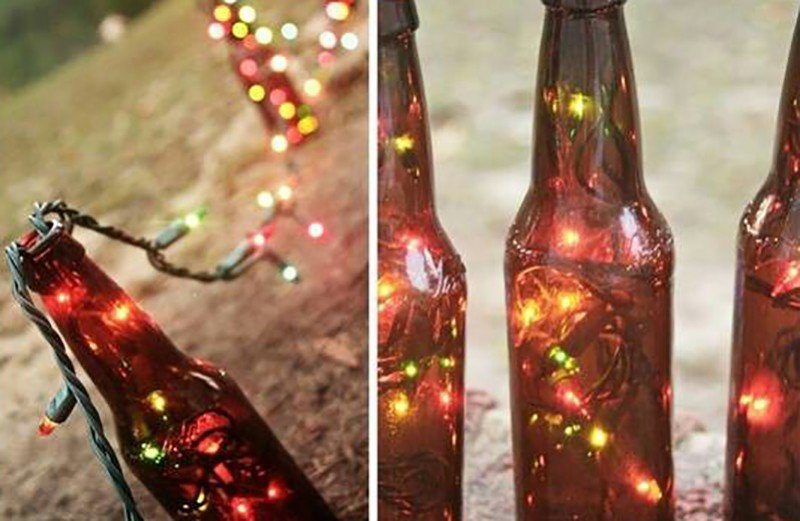 The first run of beer bottle lights being assembled.
