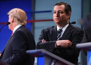 A frustrated Senator Ted Cruz takes a moment to gather himself before continuing.