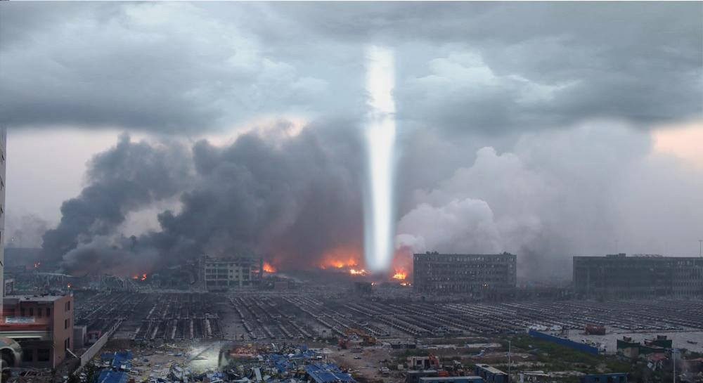 Light beam over Tianjin, China