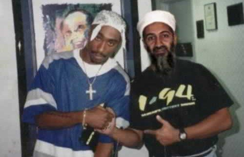 Tupac Shakur and Osama bin Laden seen here outside the recording studio.