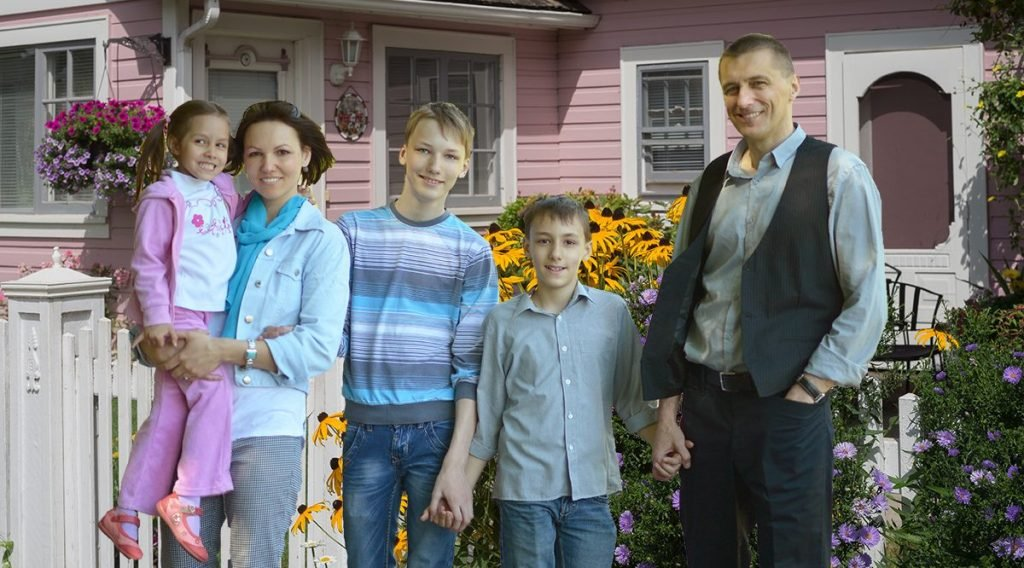 The Foster Family in front of their new Nevada City home.