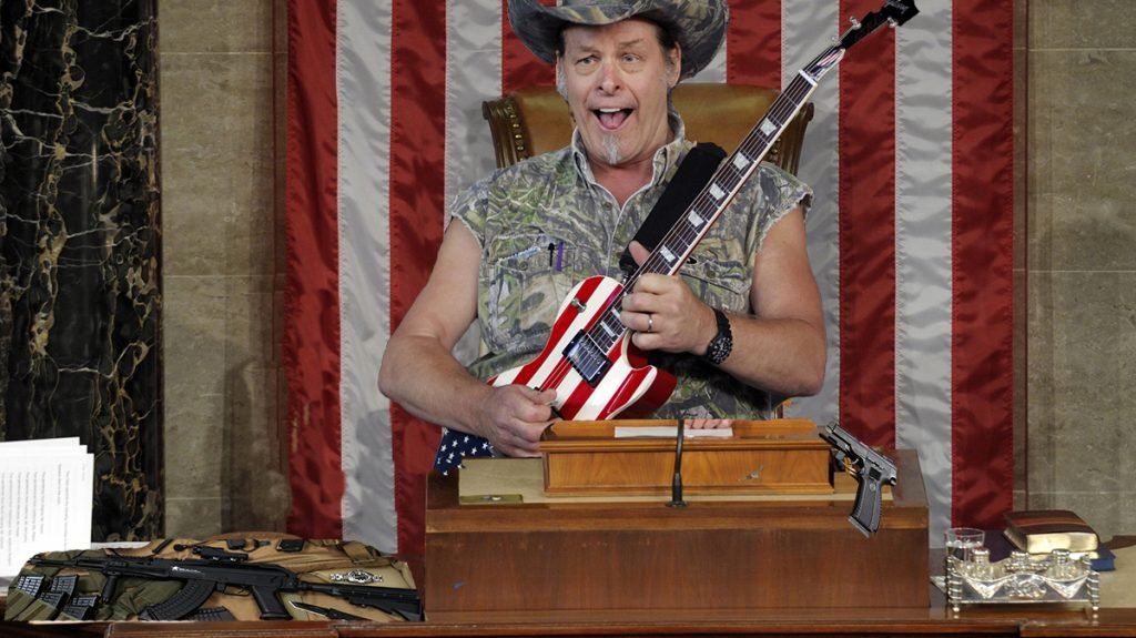 "Newly ascended Speaker Ted Nugent in his first ""speech"" to the House of Representatives."
