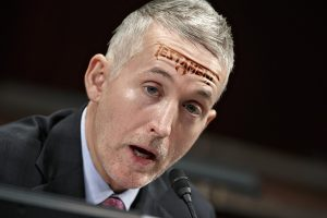 Rep. Trey Gowdy seen here with his trademark Testament forehead tattoo.