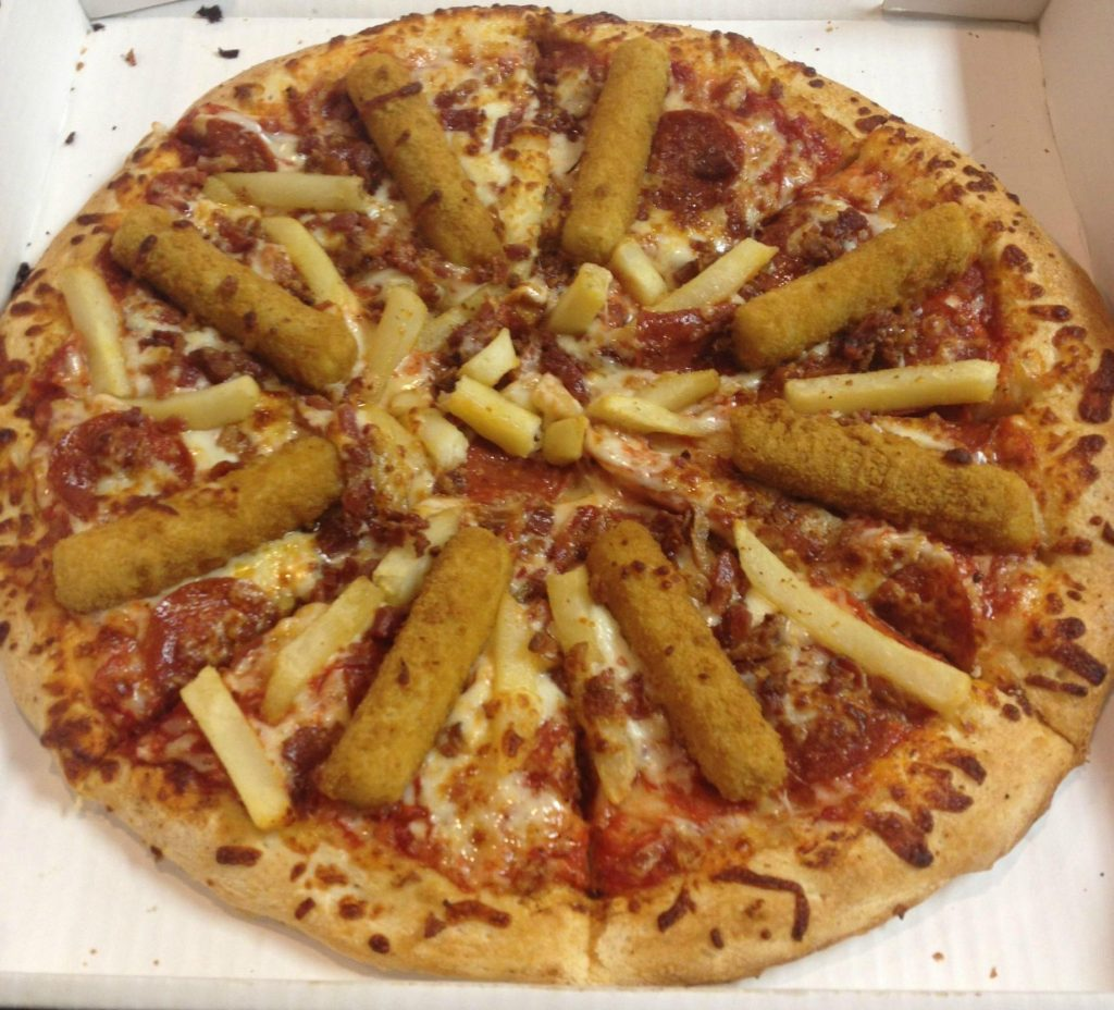 #14: Radical Bacon, Mozzarella Sticks and French Fry Pizza. It's just what it sounds like. Customers can order this delight with pineapple, if they are really stoned.