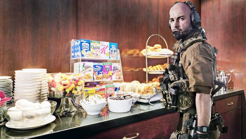 After about an hour, members of the militia were seen sampling the free Continental breakfast.