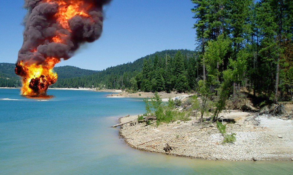 Photo taken seconds after the explosion on Scotts Flat Lake.