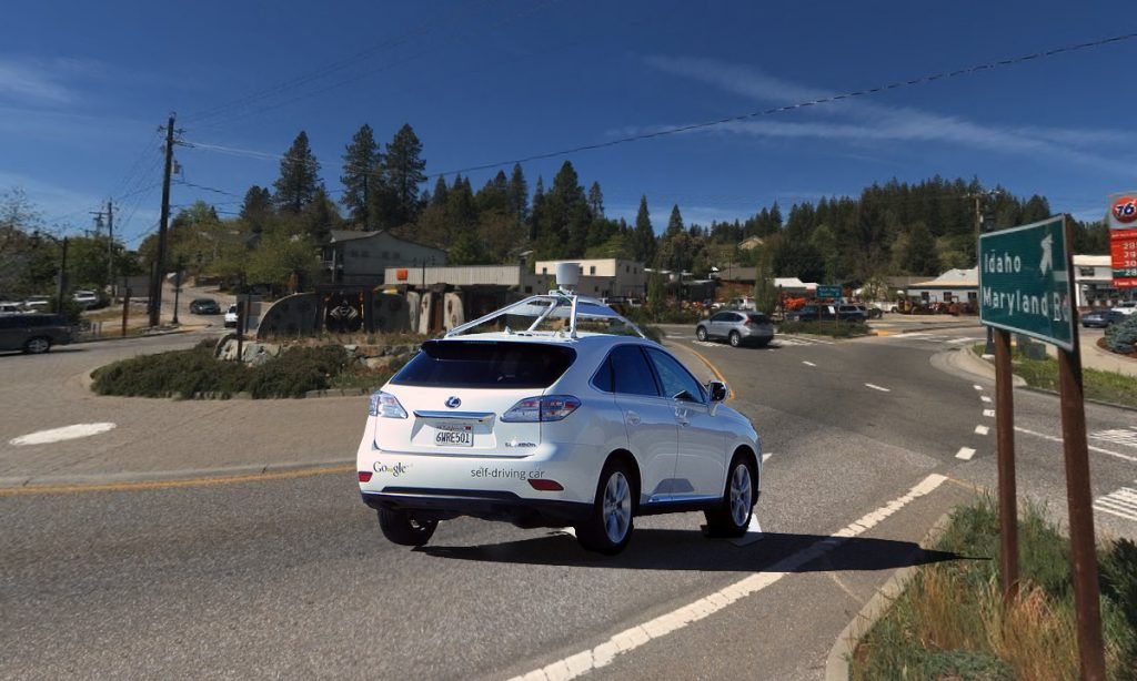 The Google self-driving car, seen here stuck in a Grass Valley, CA roundabout, that accidentally lead to the discovery.