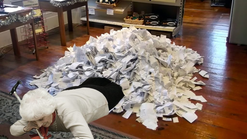 Authorities allowed Millie Franks to keep her receipt pile shown here in her home.