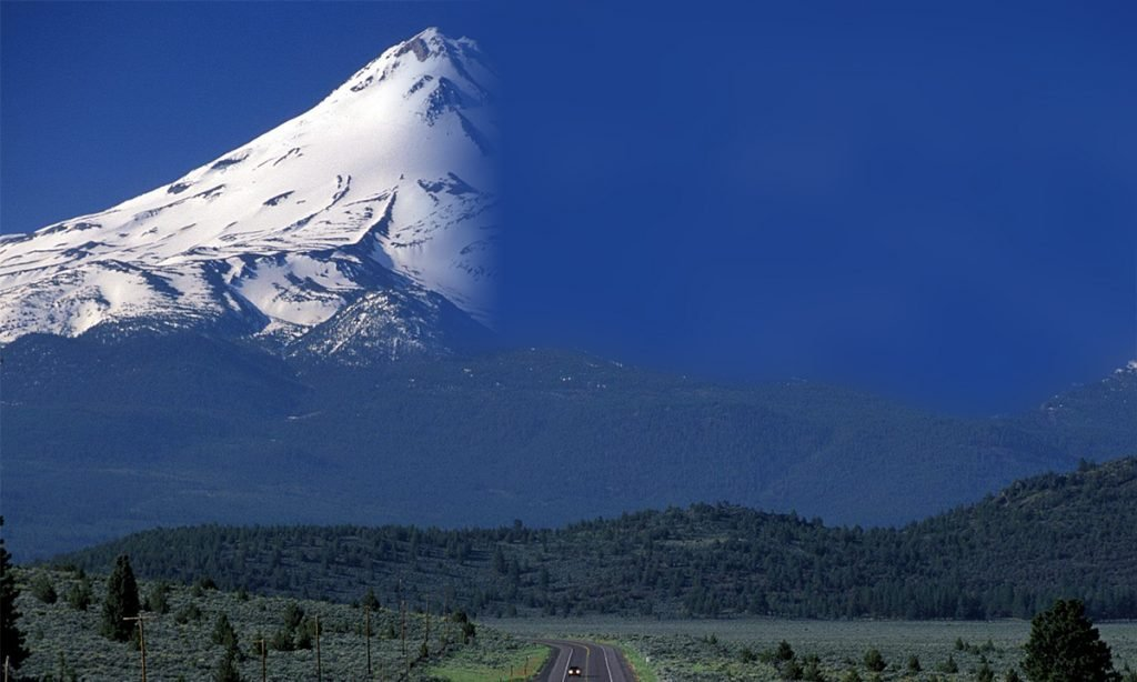 Mount Shasta before and after of Ms. Donahue's handiwork.