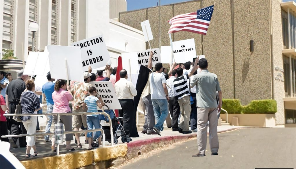 Three local Christian activist groups gathered to protest an allocution at the Nevada County Courthouse.