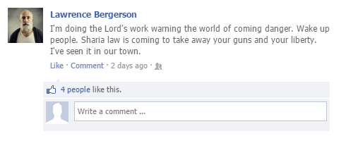 A typical Lawrence Bergerson Facebook status update