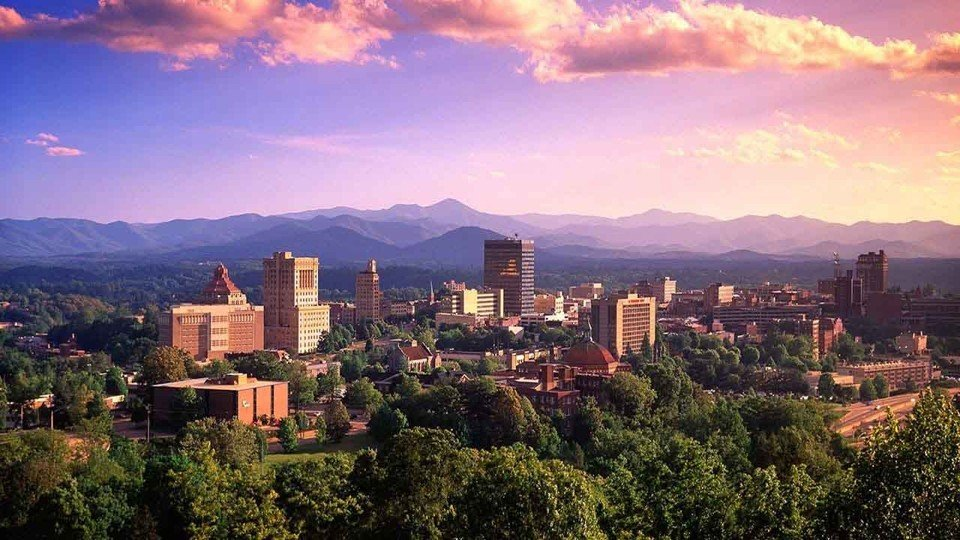A keen eye, says Mr. Wolford, will notice that this picture of Asheville is an elaborate Photoshop hoax.