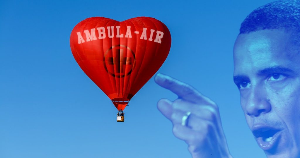A prototype of an Obamacare Ambula-Air Balloon.