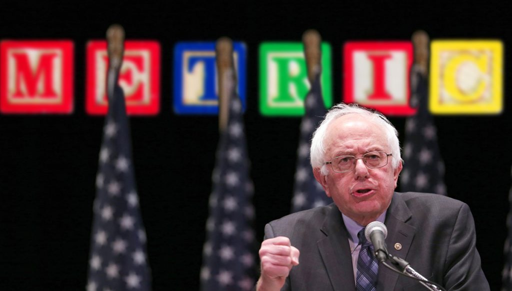 Senator Bernie Sanders announcing his plans to convert the United States to the metric system in New York City.