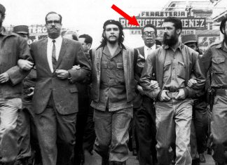 Fidel Castro, Che Guevara and a young Bernie Sanders marching in Cuba.
