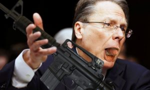 Wayne LaPierre demonstrating his sexual prowess by licking an AR-15 during a Congressional hearing.