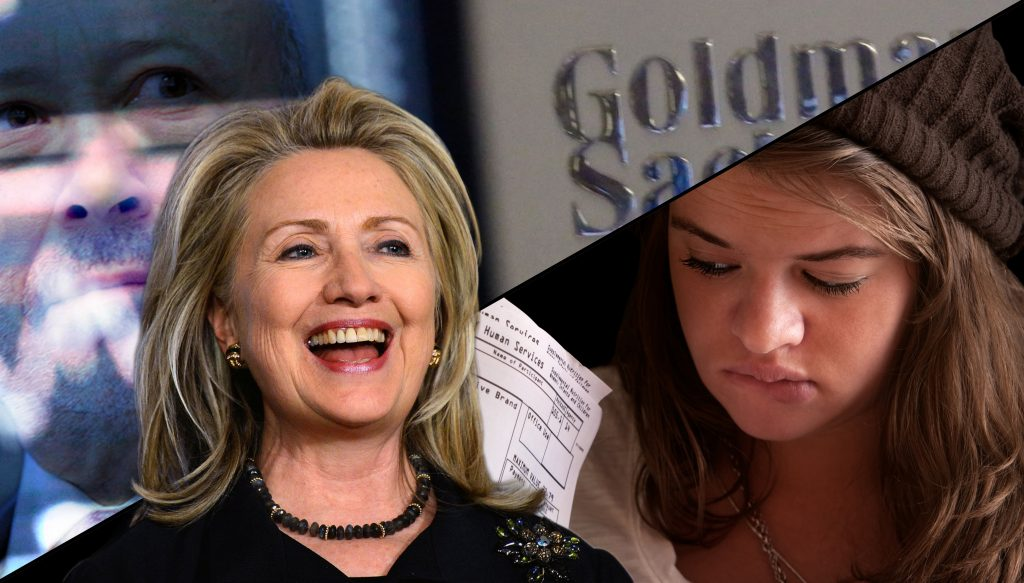 Hillary Clinton chooses Goldman Sachs over 19-year-old Emma Cote of Pittsburgh, PA