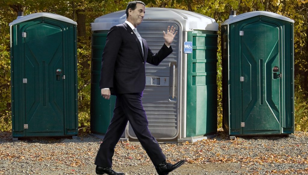 Rick Santorum slips out.