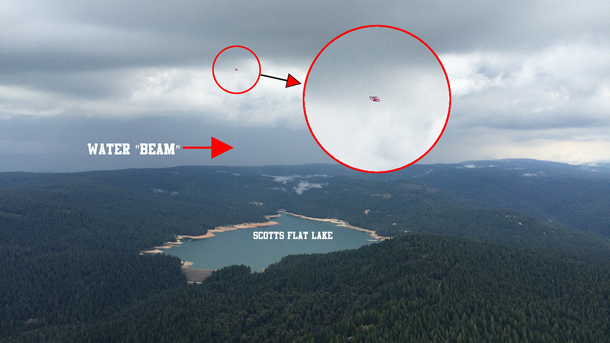 UFO caught siphoning water out of Scotts Flat Lake in rural Nevada County, CA.