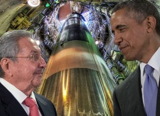 Presidents Castro and Obama sharing a laugh inside a Cuban Missile silo.
