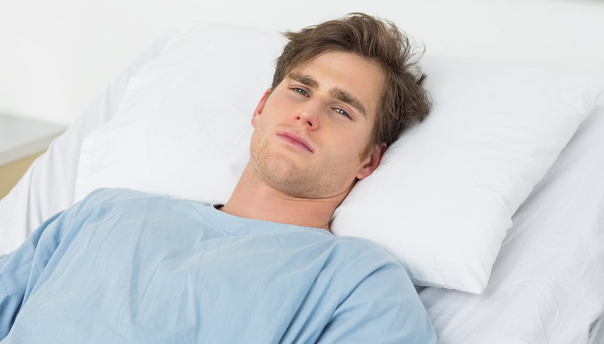 """Richard H. Thorndyke seen here recovering in Midland Memorial Hospital after his """"sympathy"""" back alley vasectomy."""