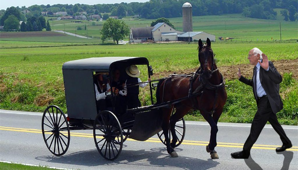 Bernie Sanders needs the Amish vote to carry Pennsylvania.