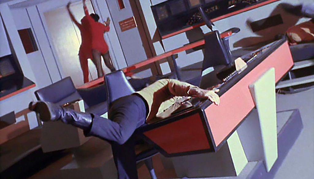 Earlier versions of Star Trek has the courageous members of the Enterprise flinging about the bridge.