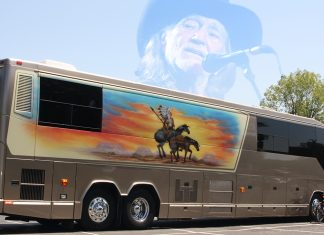Willie Nelson was found alive in his tour bus seen here outside a Holiday Inn Express in Eugene, Oregon.