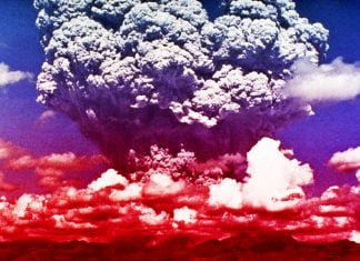 Artist's rendition Yellowstone's pending eruption.